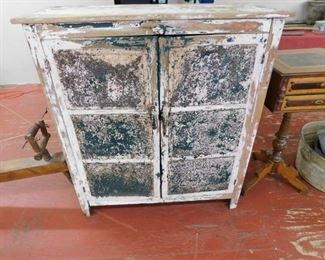 Primitive Pie Safe with Punch Tin Front
