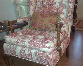 Toile upholstered arm chair