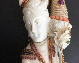 Ivory Geisha embellished with Ruby , Sapphires, Emeralds and Gold Wire , approx 14""