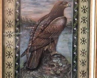 "Incredible Eagle on rock folk art painting approx 16"" circa 1850-60s"