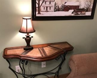 Mahogany, Accent / Foyer table with metal legs