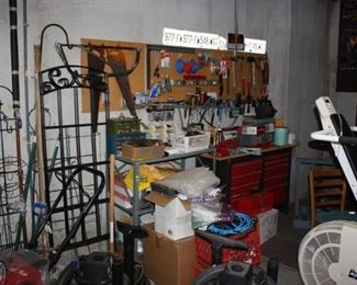 Full garage with tools