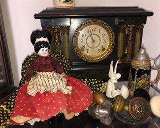 Seth Thomas clock, antique dolls, doorknobs, Stein