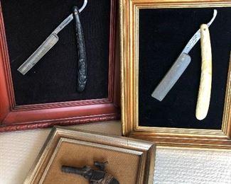 Antique razors/ antique cap gun