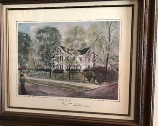 Signed (by Truman) watercolor of Truman Home