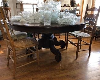 """62"""" round table with one leaf (gorgeous!)"""