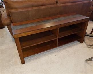 coffee table, wood with tile accent on top & sides