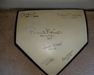 Memorial Stadium home plate signed by 5 Orioles Hall of Fame players