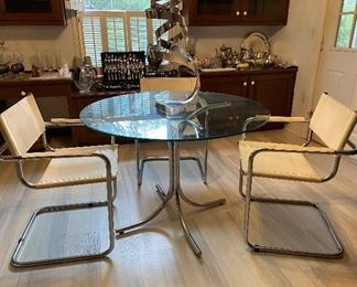 MCM Catilever Chrome & White Leather Chair & Table