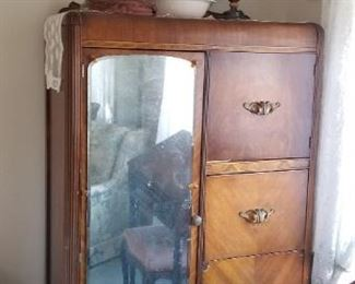Vintage Art Deco Nouveau Waterfall Wardrobe / Dresser, Beautiful. $525