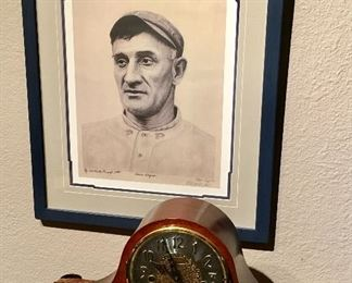 HONUS WAGNER SIGNED AND NUMBERED LITHOGRAPH. HOWARD MILLER PREMIUM CHIME CLOCK.