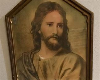 VINTAGE WAVY GLASS JESUS DEPICTION WITH GREAT OLDER FRAME.
