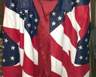 RED, WHITE & BLUE, STARS & STRIPES QUALITY LEATHER JACKET/COAT X 2.