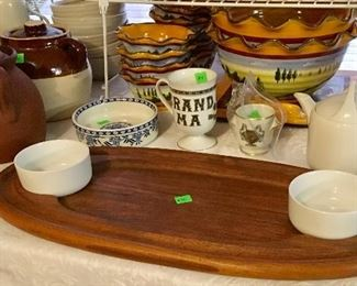 VINTAGE DANSK WOOD OVAL SERVING CHIP & DIP SET.
