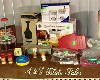 POTTERY BARN & OTHER KITCHENWARE, PLUS VINTAGE CRACKER TIN.