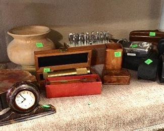VINTAGE CLOCK, BOOKENDS, CAMERAS & MORE.