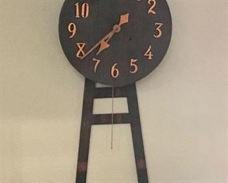VERY OLD MISSION WOOD GENERAL STORE CLOCK FROM THOMPSON'S CLOCK COMPANY OF KANSAS CITY.