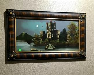 ANTIQUE CASTLE REVERSE PAINTING.