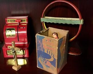 VERY NICE CONDITION VINTAGE BANK AND TIN TOYS.
