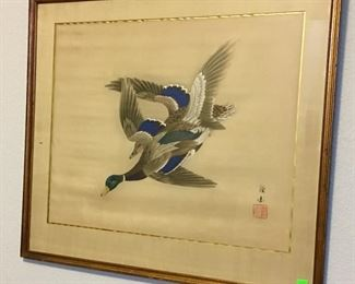 VINTAGE ASIAN MALLARD DUCK ART.