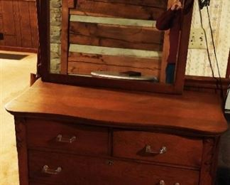Antique 2-over-2 Dresser with Mirror/Acrylic Pulls