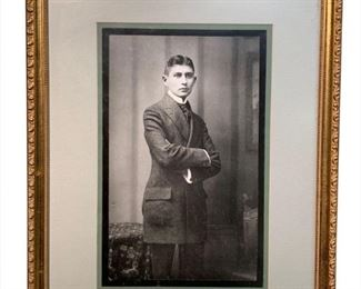 "Rare and Important Photograph of Franz Kafka Franz Kafka (3 July 1883 – 3 June 1924) was a German-speaking Bohemian novelist and short-story writer, widely regarded as one of the major figures of 20th-century literature. His work, which fuses elements of realism and the fantastic, typically features isolated protagonists facing bizarre or surrealistic predicaments and incomprehensible socio-bureaucratic powers, and has been interpreted as exploring themes of alienation, existential anxiety, guilt, and absurdity. His best known works include ""Die Verwandlung"" (""The Metamorphosis""), Der Process (The Trial), and Das Schloss (The Castle). The term Kafkaesque has entered the English language to describe situations like those found in his writing. Framed dimensions 18x24"" for perspective All art catalogued dimensions are shown as framed. Each lot in this sale has the unique provenance of being part of the Private Collections of Mark E. Talisman, a long-time advocate for Jewish causes and a f"