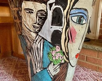Over sized artisan urn  hand made and signed by Polly Cook (back)
