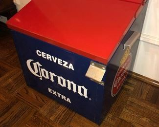 Star of the show! Corona Ice Chest all metal. Possibly vintage.