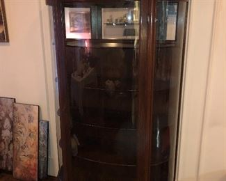 Beautiful Antique Curved Glass Small China Cabinet.