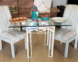 Just the right size glass table for a small kitchen or patio or living room or...