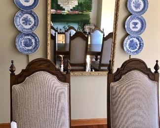 """Gold frame mirror and 6 Spode plates """"Blue Room Collection"""""""