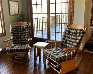 Two oak glider rockers, small pine table