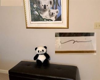 Bench/seat, Panda painting signed and numbered 375/500