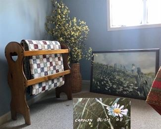 Quilt rack, quilt, Painting signed and dated; CAROLYN BLISH '68