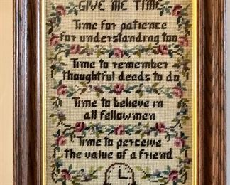 'GIVE ME TIME' Vintage cross stitch