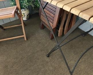 Folding wood chairs and  folding table