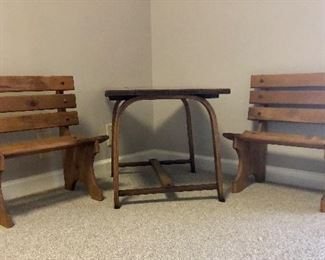 Child's benches and table