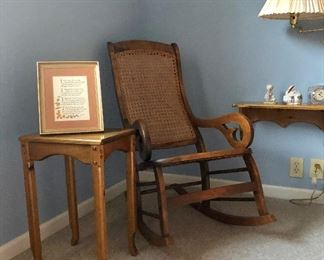 Vintage cane back rocker, small side table