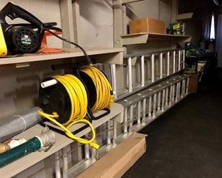 Nice selection of extension ladders, power cords...