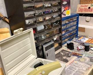 Vintage label maker, tool organizers...