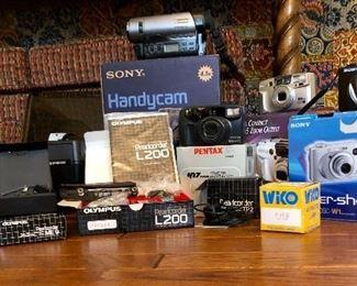 cameras, projector, recorder, movie camera