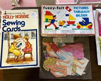 Holly Hobbie sewing cards (6 cards with yarn),  Fuzzy-felt, 1978 Barbie paper dolls
