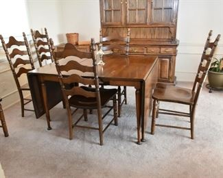 DROP LEAF DINING TABLE W/6 CHAIRS