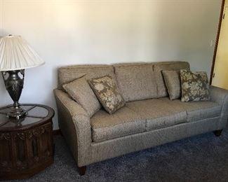 Nice 3 cushion sofa.  Matching end tables. Art deco lamp