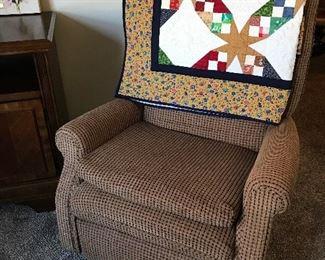 Nice recliner.  Beautiful lap quilt.
