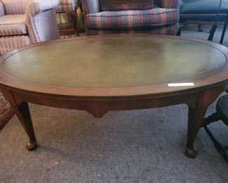Leather Top Coffee Table