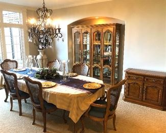 Thomasville dining set with matching china cabinet and server
