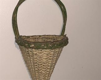 GREAT EARLY PAINTED WALL BASKET