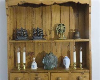 Vintage Pine Wall Shelf Scalloped Crest