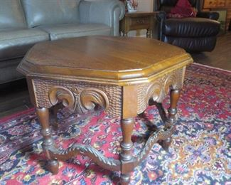 Hexagon Carved Occasional Table